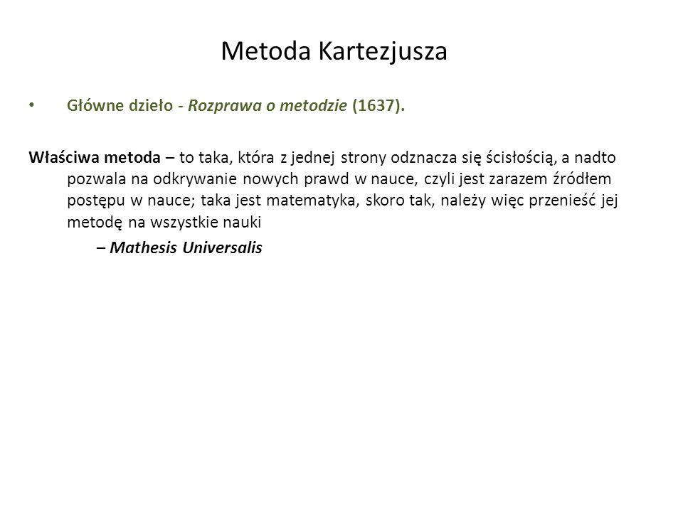 Metoda Kartezjusza Główne dzieło - Rozprawa o metodzie (1637). Właściwa metoda – to taka, która z jednej strony odznacza się ścisłością, a nadto pozwa