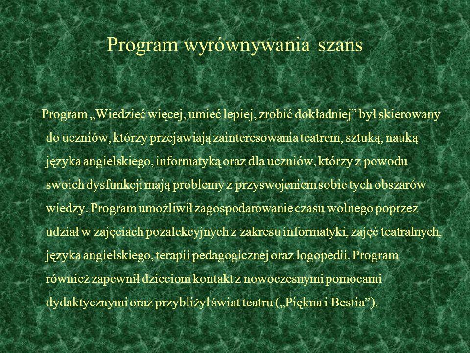 Program wyrównywania szans Program Wiedzieć więcej, umieć lepiej, zrobić dokładniej był skierowany do uczniów, którzy przejawiają zainteresowania teat