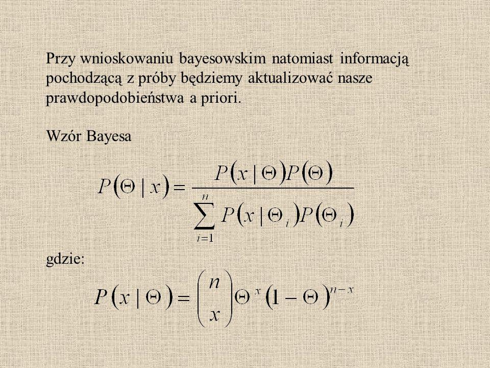Przy wnioskowaniu bayesowskim natomiast informacją pochodzącą z próby będziemy aktualizować nasze prawdopodobieństwa a priori. Wzór Bayesa gdzie: