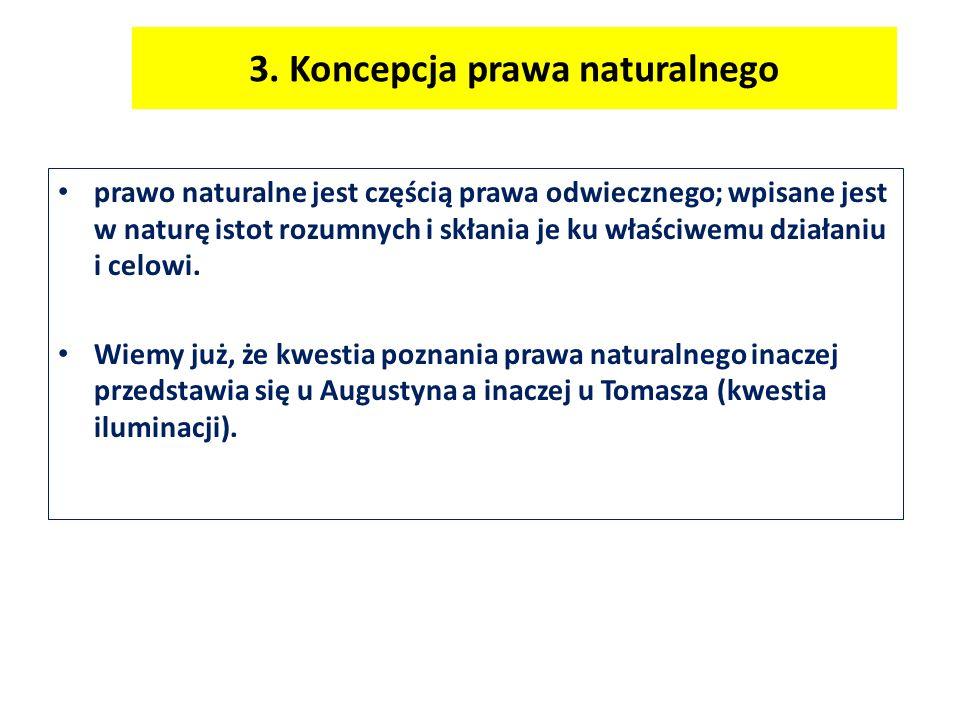 3. Koncepcja prawa naturalnego prawo naturalne jest częścią prawa odwiecznego; wpisane jest w naturę istot rozumnych i skłania je ku właściwemu działa