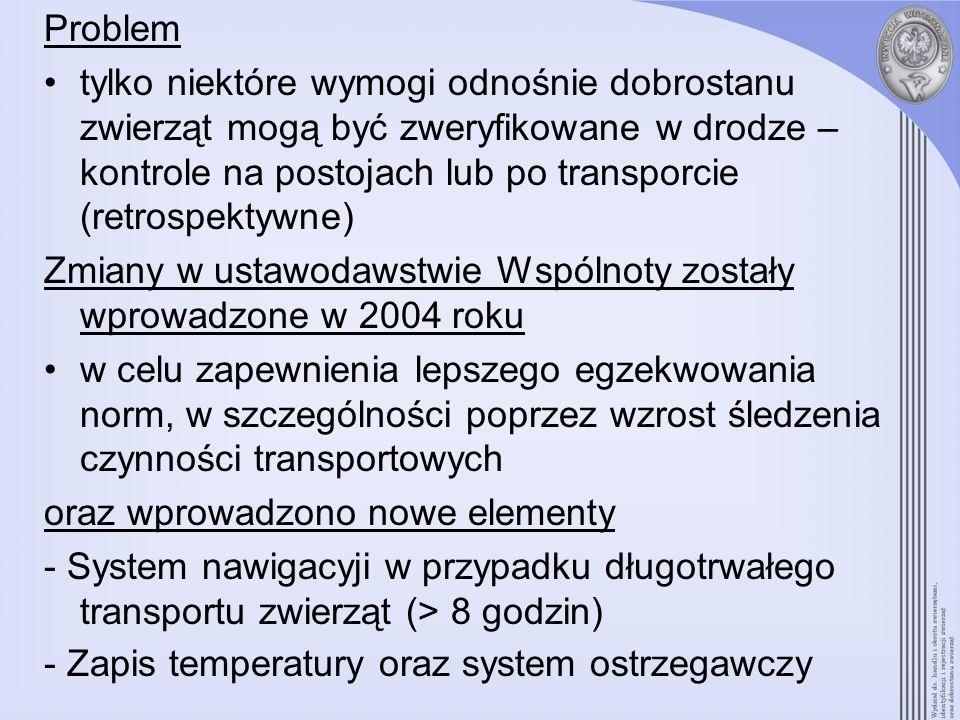 WYMAGANIA PRAWNE Rozporządzenie (WE) 1/2005 w sprawie ochrony zwierząt podczas transportu Artykuł 6(9) –system nawigacji przy długotrwałych przewozach –na dzień 1 stycznia 2007 w pojazdach po raz pierwszy wprowadzonych do użytku; –na dzień 1 stycznia 2009 we wszystkich środkach transportu drogowego.