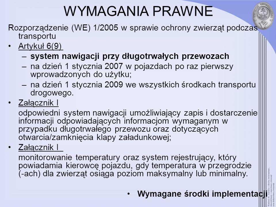 WYMAGANIA PRAWNE Rozporządzenie (WE) 1/2005 w sprawie ochrony zwierząt podczas transportu Artykuł 6(9) –system nawigacji przy długotrwałych przewozach