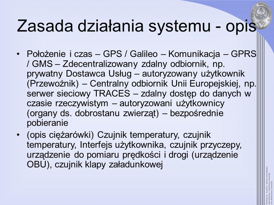 Możliwe dodatkowe osiągnięcia / rozbudowa systemu Stworzenie połączenia ze zdrowiem publicznym / zwierząt, np.: –Elektroniczna identyfikacja przy załadunku/rozładunku zwierząt z możliwością natychmiastowego uaktualnienia zwierzęcych baz danych oraz mniejsze obciążenie administracyjne posiadaczy; –Czyszczenie i dezynfekcja ciężarówki; –Odwzorowywanie stref zakażonych/chronionych w przypadku wybuchu epidemii chorób zwierzęcych, co umożliwi przewoźnikom/organom zapobieżenie możliwemu rozprzestrzenianiu się ryzyka;
