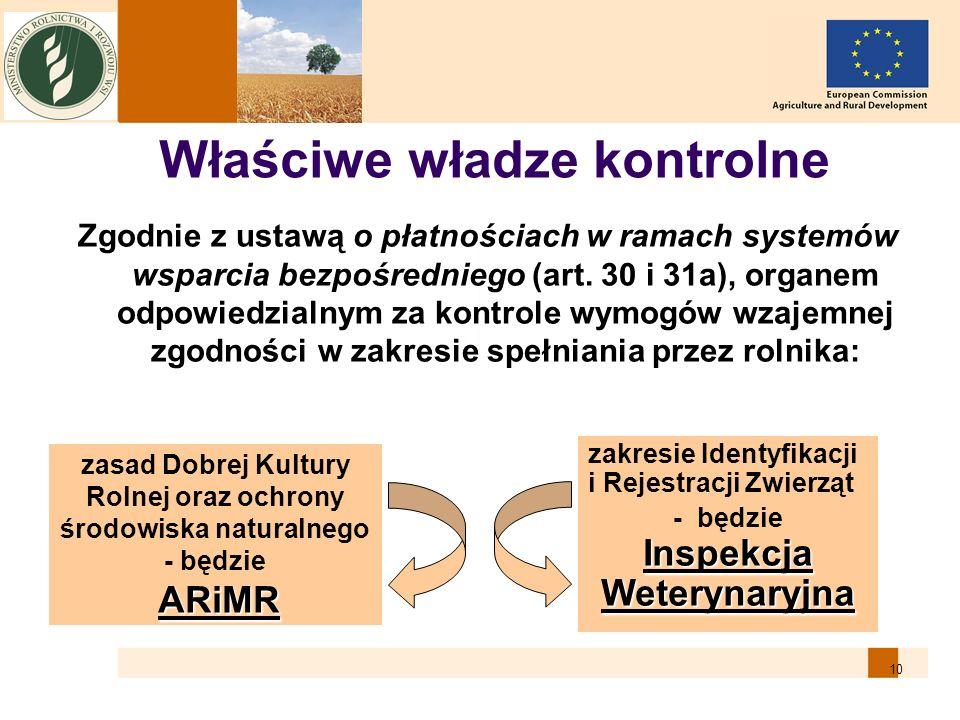 10 Zgodnie z ustawą o płatnościach w ramach systemów wsparcia bezpośredniego (art. 30 i 31a), organem odpowiedzialnym za kontrole wymogów wzajemnej zg