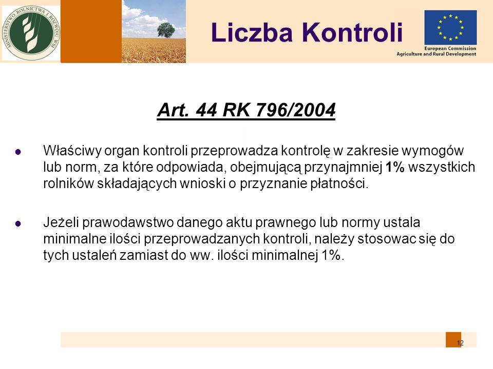 12 Liczba Kontroli Art. 44 RK 796/2004 Właściwy organ kontroli przeprowadza kontrolę w zakresie wymogów lub norm, za które odpowiada, obejmującą przyn