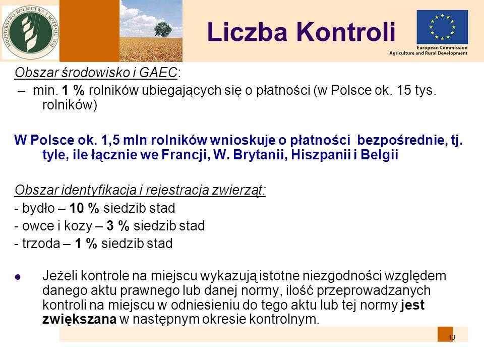 13 Liczba Kontroli Obszar środowisko i GAEC: – min. 1 % rolników ubiegających się o płatności (w Polsce ok. 15 tys. rolników) W Polsce ok. 1,5 mln rol