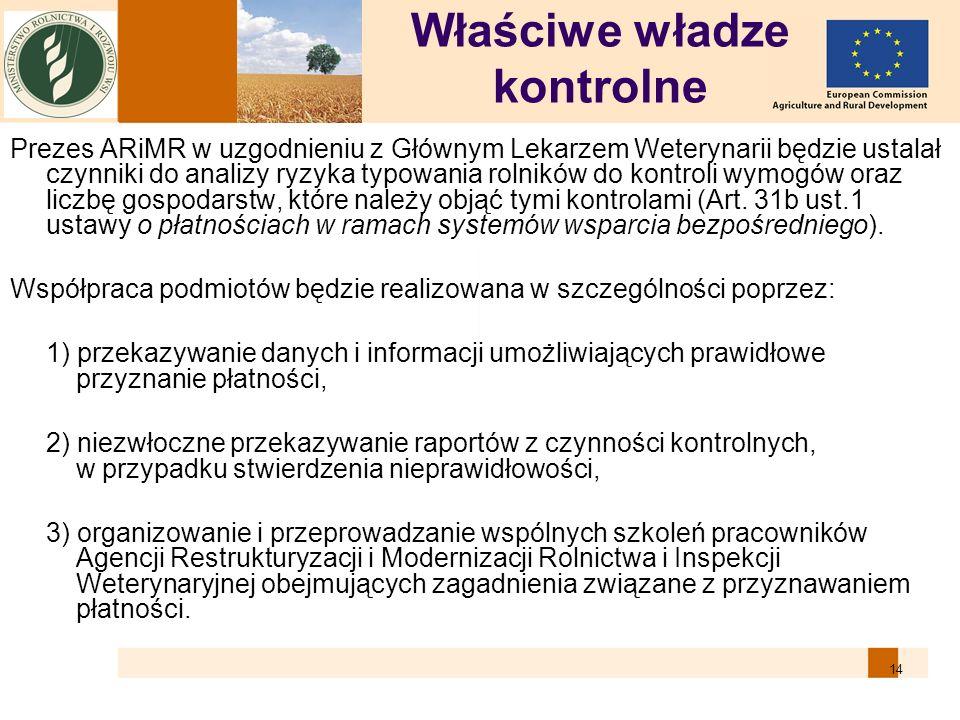 14 Właściwe władze kontrolne Prezes ARiMR w uzgodnieniu z Głównym Lekarzem Weterynarii będzie ustalał czynniki do analizy ryzyka typowania rolników do