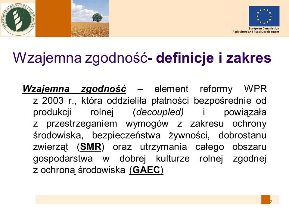 2 Wzajemna zgodność- definicje i zakres Wzajemna zgodność – element reformy WPR z 2003 r., która oddzieliła płatności bezpośrednie od produkcji rolnej