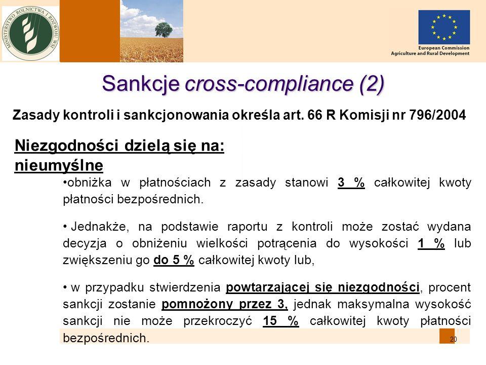20 Sankcje cross-compliance (2) Niezgodności dzielą się na: nieumyślne obniżka w płatnościach z zasady stanowi 3 % całkowitej kwoty płatności bezpośre