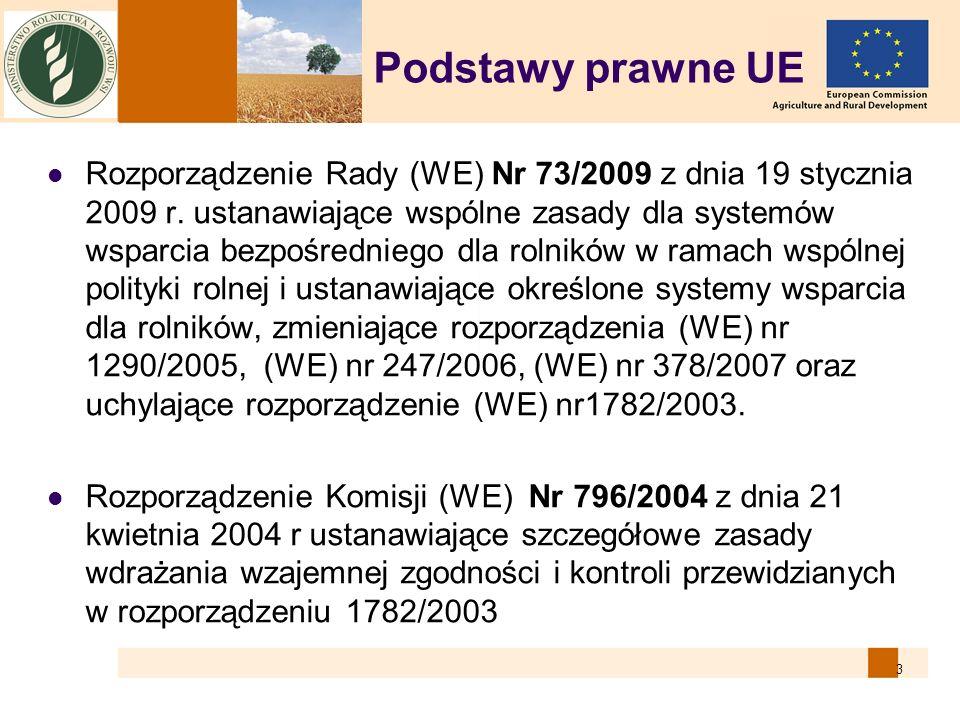 3 Podstawy prawne UE Rozporządzenie Rady (WE) Nr 73/2009 z dnia 19 stycznia 2009 r. ustanawiające wspólne zasady dla systemów wsparcia bezpośredniego