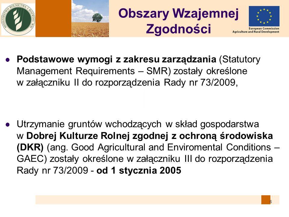 6 Obszary Wzajemnej Zgodności Podstawowe wymogi z zakresu zarządzania (Statutory Management Requirements – SMR) zostały określone w załączniku II do r