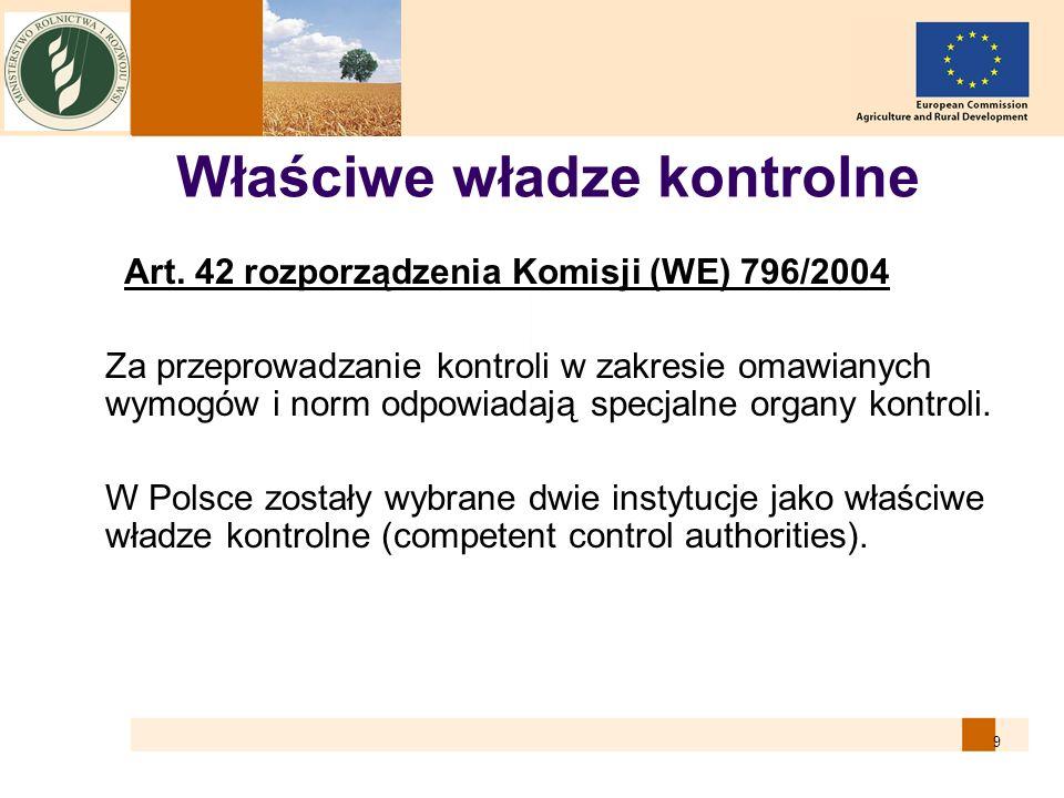 9 Właściwe władze kontrolne Art. 42 rozporządzenia Komisji (WE) 796/2004 Za przeprowadzanie kontroli w zakresie omawianych wymogów i norm odpowiadają