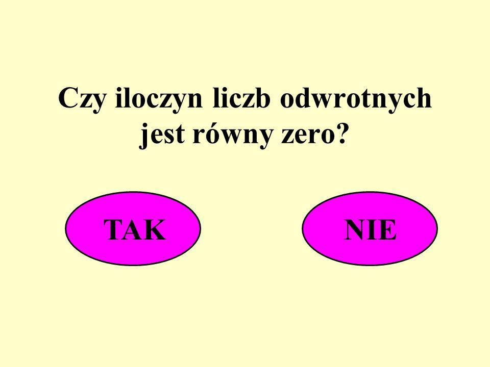 Czy iloczyn liczb odwrotnych jest równy zero? TAKNIE