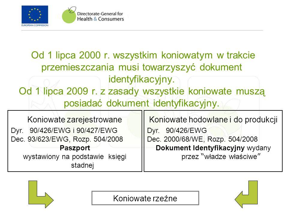 Od 1 lipca 2000 r. wszystkim koniowatym w trakcie przemieszczania musi towarzyszyć dokument identyfikacyjny. Od 1 lipca 2009 r. z zasady wszystkie kon
