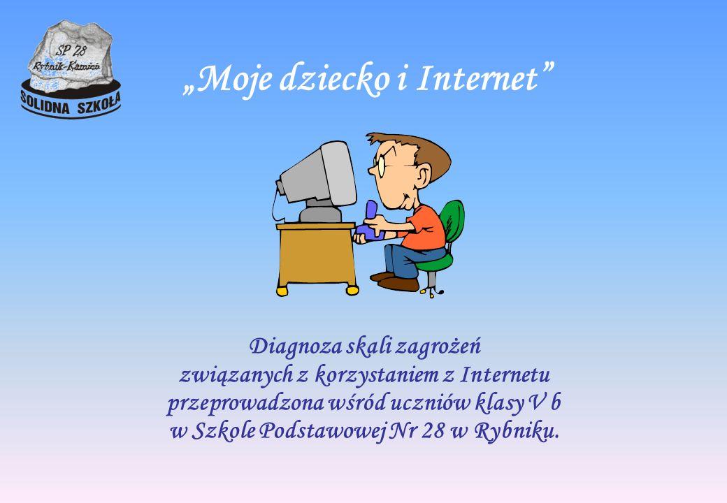 Moje dziecko i Internet Diagnoza skali zagrożeń związanych z korzystaniem z Internetu przeprowadzona wśród uczniów klasy V b w Szkole Podstawowej Nr 2