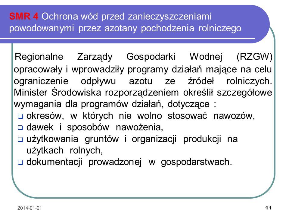 2014-01-01 11 SMR 4 Ochrona wód przed zanieczyszczeniami powodowanymi przez azotany pochodzenia rolniczego Regionalne Zarządy Gospodarki Wodnej (RZGW)
