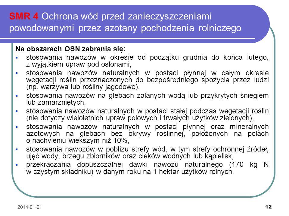 2014-01-01 12 SMR 4 Ochrona wód przed zanieczyszczeniami powodowanymi przez azotany pochodzenia rolniczego Na obszarach OSN zabrania się: stosowania n