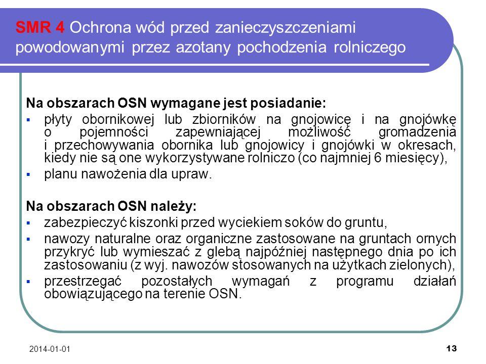 2014-01-01 13 SMR 4 Ochrona wód przed zanieczyszczeniami powodowanymi przez azotany pochodzenia rolniczego Na obszarach OSN wymagane jest posiadanie: