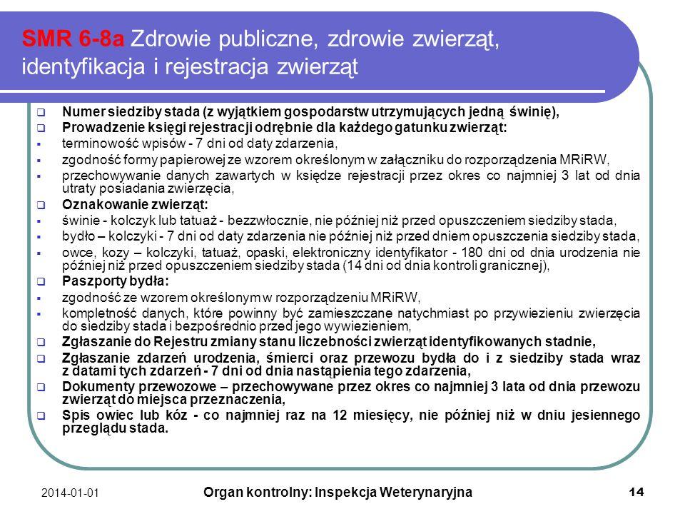 2014-01-01 14 SMR 6-8a Zdrowie publiczne, zdrowie zwierząt, identyfikacja i rejestracja zwierząt Numer siedziby stada (z wyjątkiem gospodarstw utrzymu
