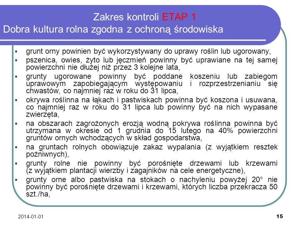 2014-01-01 15 Zakres kontroli ETAP 1 Dobra kultura rolna zgodna z ochroną środowiska grunt orny powinien być wykorzystywany do uprawy roślin lub ugoro