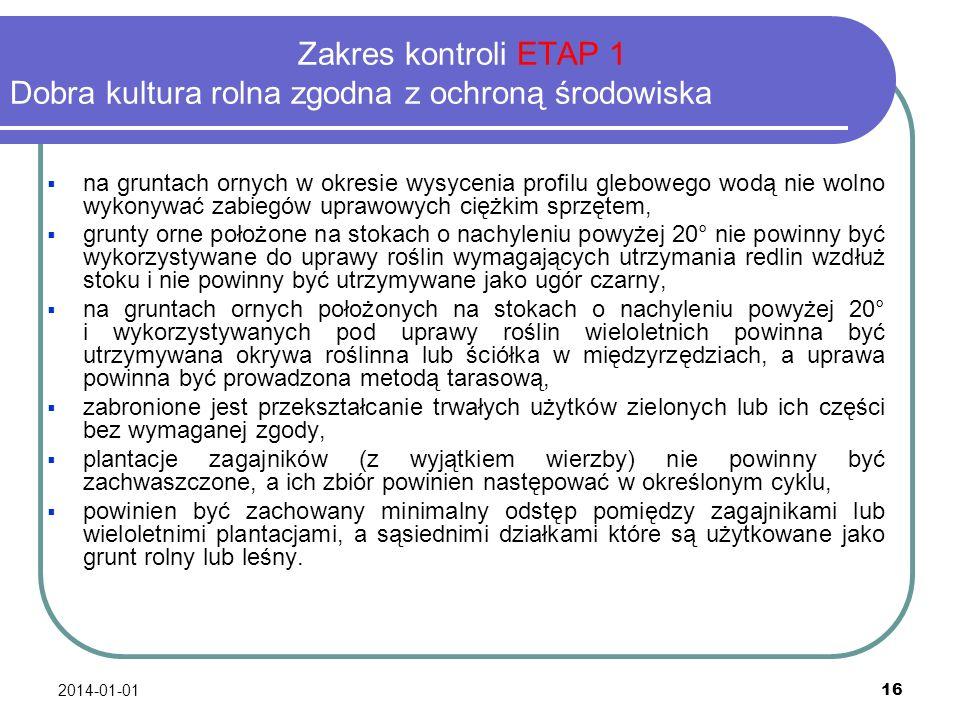 2014-01-01 16 Zakres kontroli ETAP 1 Dobra kultura rolna zgodna z ochroną środowiska na gruntach ornych w okresie wysycenia profilu glebowego wodą nie