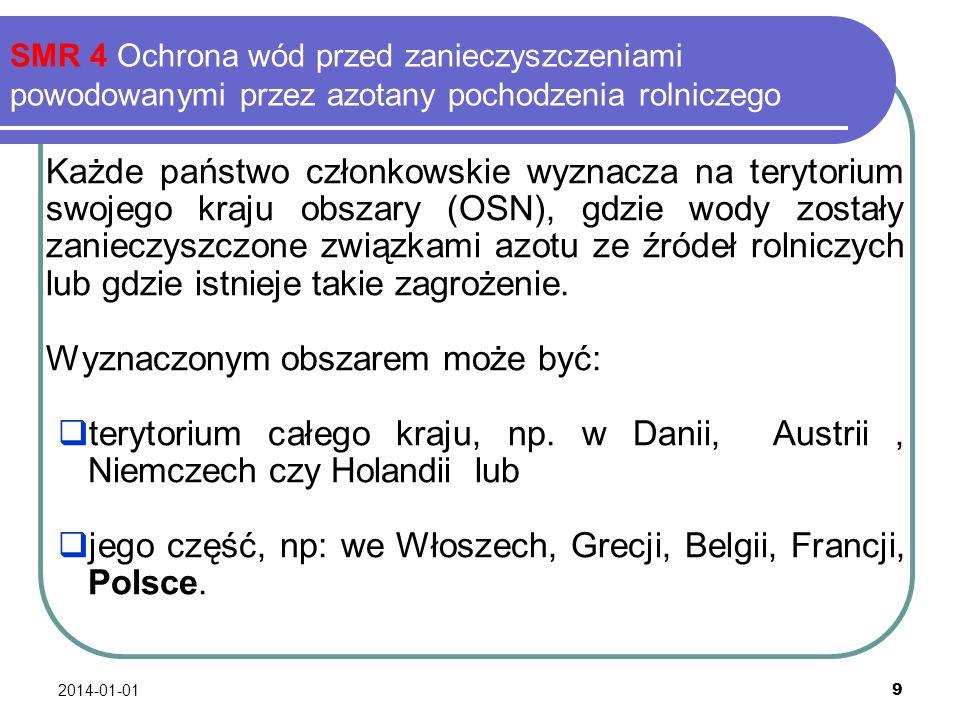 2014-01-01 9 SMR 4 Ochrona wód przed zanieczyszczeniami powodowanymi przez azotany pochodzenia rolniczego Każde państwo członkowskie wyznacza na teryt