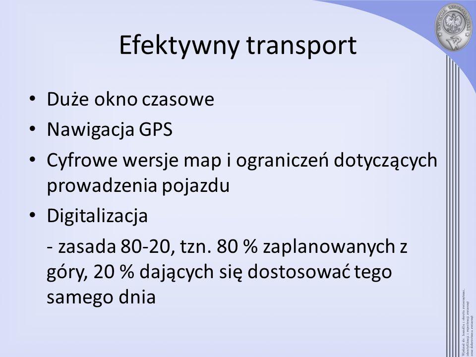 Efektywny transport Duże okno czasowe Nawigacja GPS Cyfrowe wersje map i ograniczeń dotyczących prowadzenia pojazdu Digitalizacja - zasada 80-20, tzn.