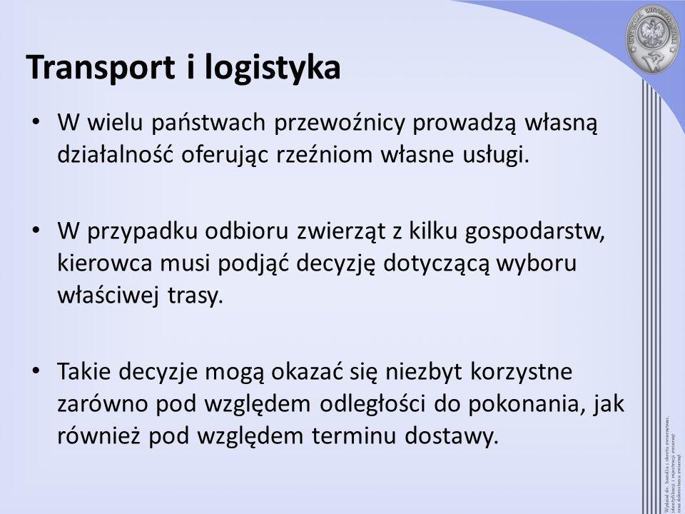 Transport i logistyka W wielu państwach przewoźnicy prowadzą własną działalność oferując rzeźniom własne usługi. W przypadku odbioru zwierząt z kilku