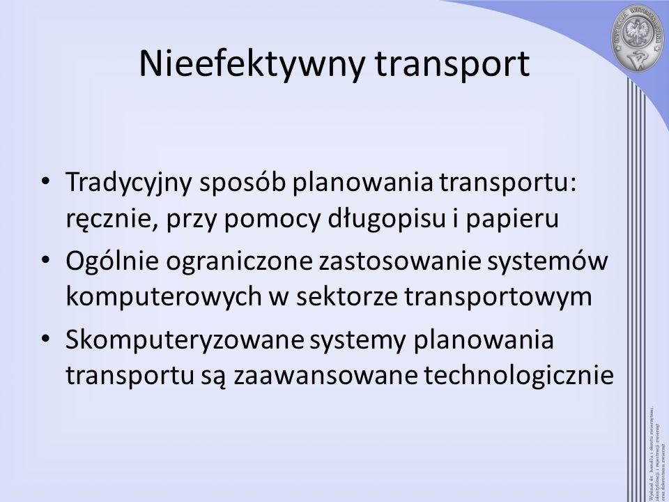 Nieefektywny transport Tradycyjny sposób planowania transportu: ręcznie, przy pomocy długopisu i papieru Ogólnie ograniczone zastosowanie systemów kom