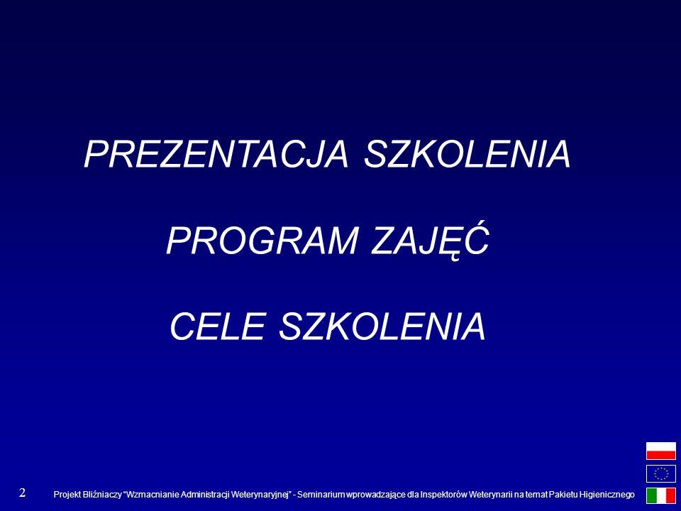 Projekt Bliźniaczy Wzmacnianie Administracji Weterynaryjnej - Seminarium wprowadzające dla Inspektorów Weterynarii na temat Pakietu Higienicznego 2 PR