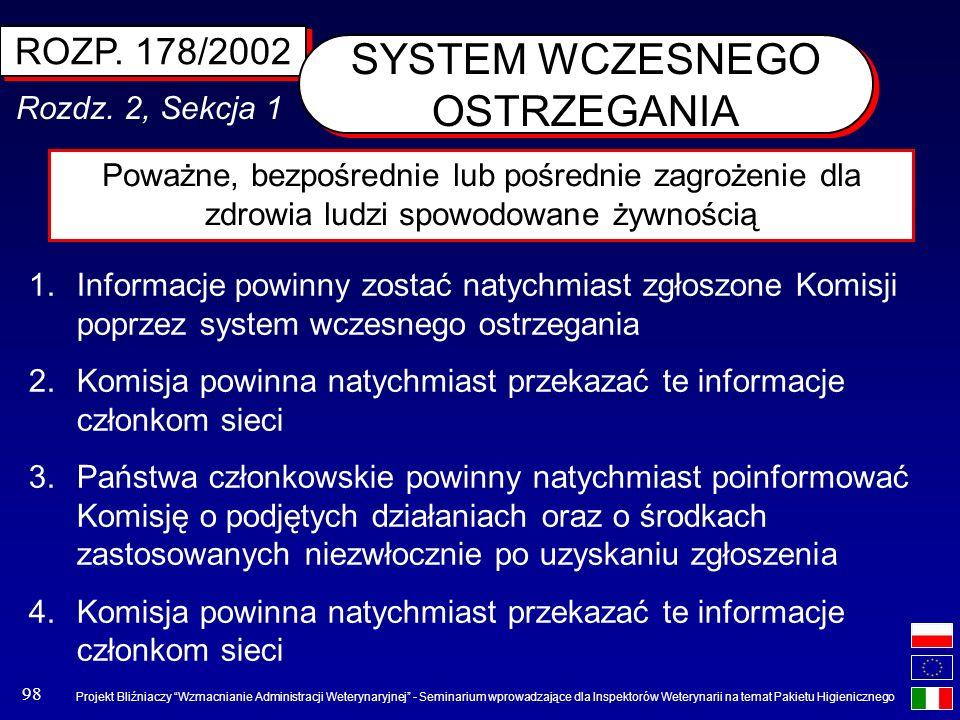 Projekt Bliźniaczy Wzmacnianie Administracji Weterynaryjnej - Seminarium wprowadzające dla Inspektorów Weterynarii na temat Pakietu Higienicznego 98 R