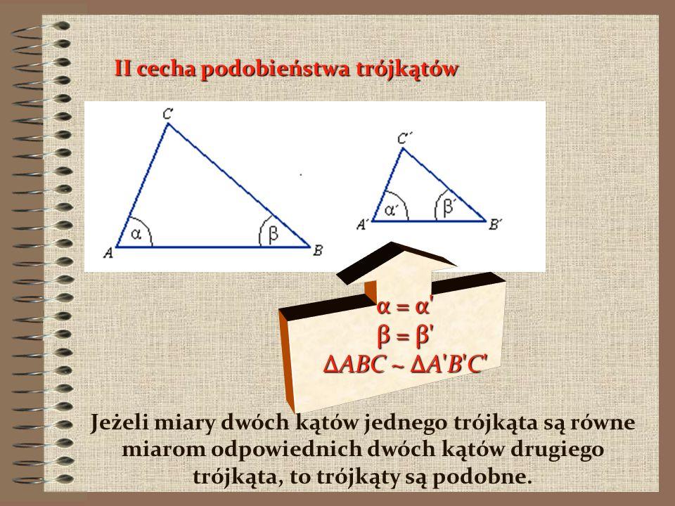 Cechy podobieństwa trójkątów, to warunki konieczne i wystarczające na to, aby dwa trójkąty były podobne. Podobieństwo trójkątów oznaczamy symbolem ~.~