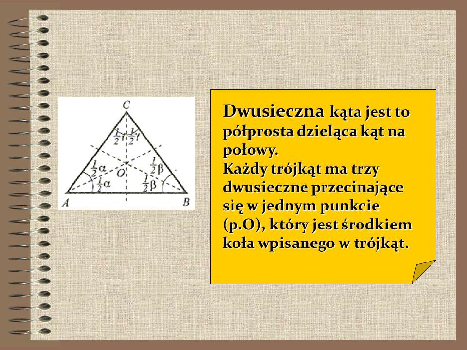 Symetralną boku trójkąta nazywamy prostą prostopadłą do tego boku, przechodzącą przez jego środek. Każdy trójkąt ma trzy symetralne boków, przecinając