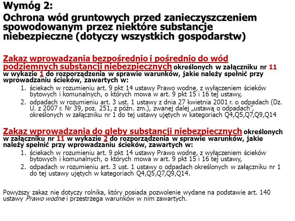Wymóg 2: Ochrona wód gruntowych przed zanieczyszczeniem spowodowanym przez niektóre substancje niebezpieczne (dotyczy wszystkich gospodarstw) Zakaz wp