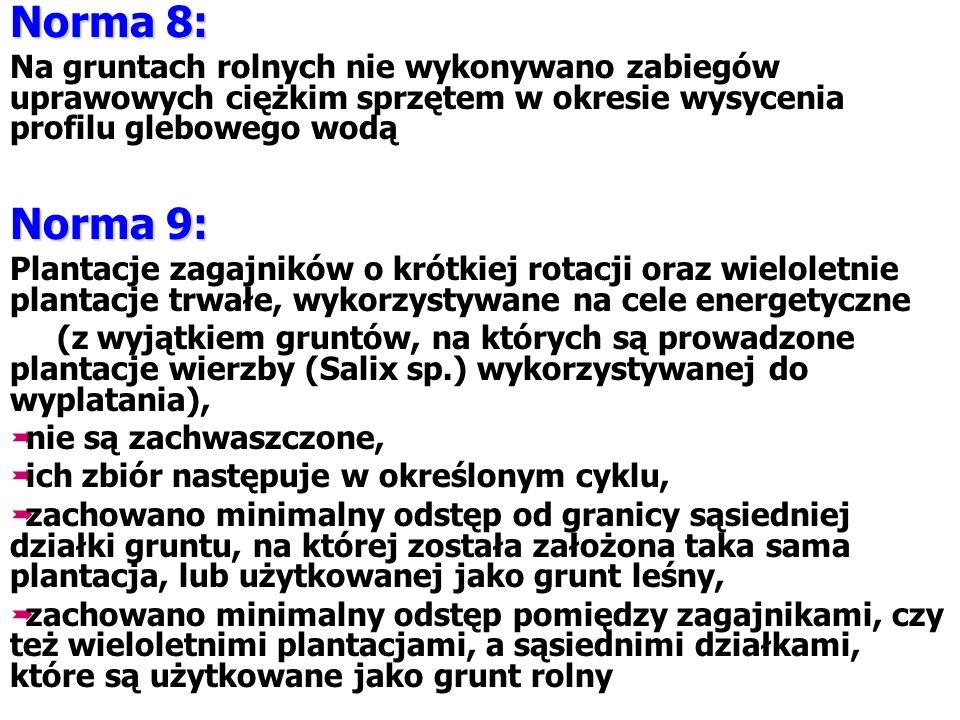 Norma 8: Na gruntach rolnych nie wykonywano zabiegów uprawowych ciężkim sprzętem w okresie wysycenia profilu glebowego wodą Norma 9: Plantacje zagajni