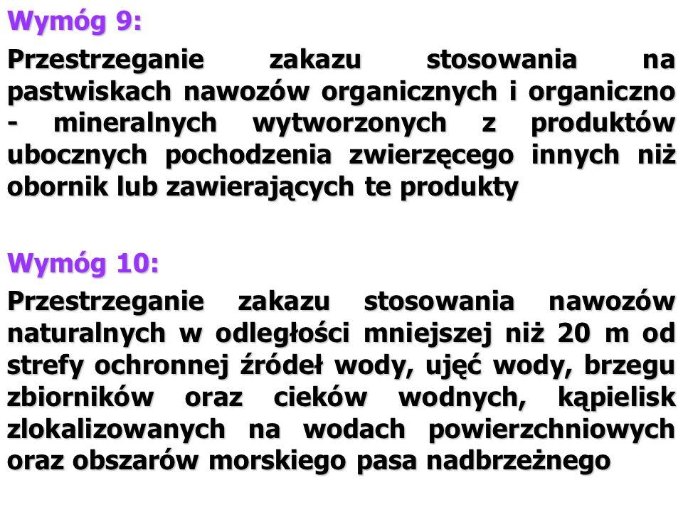Wymóg 9: Przestrzeganie zakazu stosowania na pastwiskach nawozów organicznych i organiczno - mineralnych wytworzonych z produktów ubocznych pochodzeni