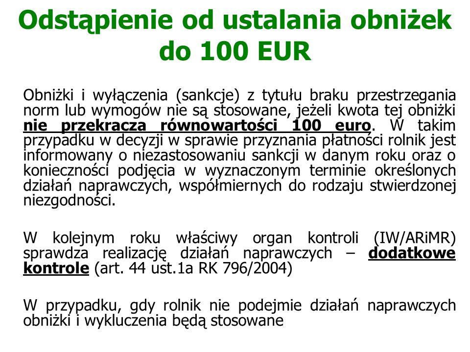 Odstąpienie od ustalania obniżek do 100 EUR Obniżki i wyłączenia (sankcje) z tytułu braku przestrzegania norm lub wymogów nie są stosowane, jeżeli kwo