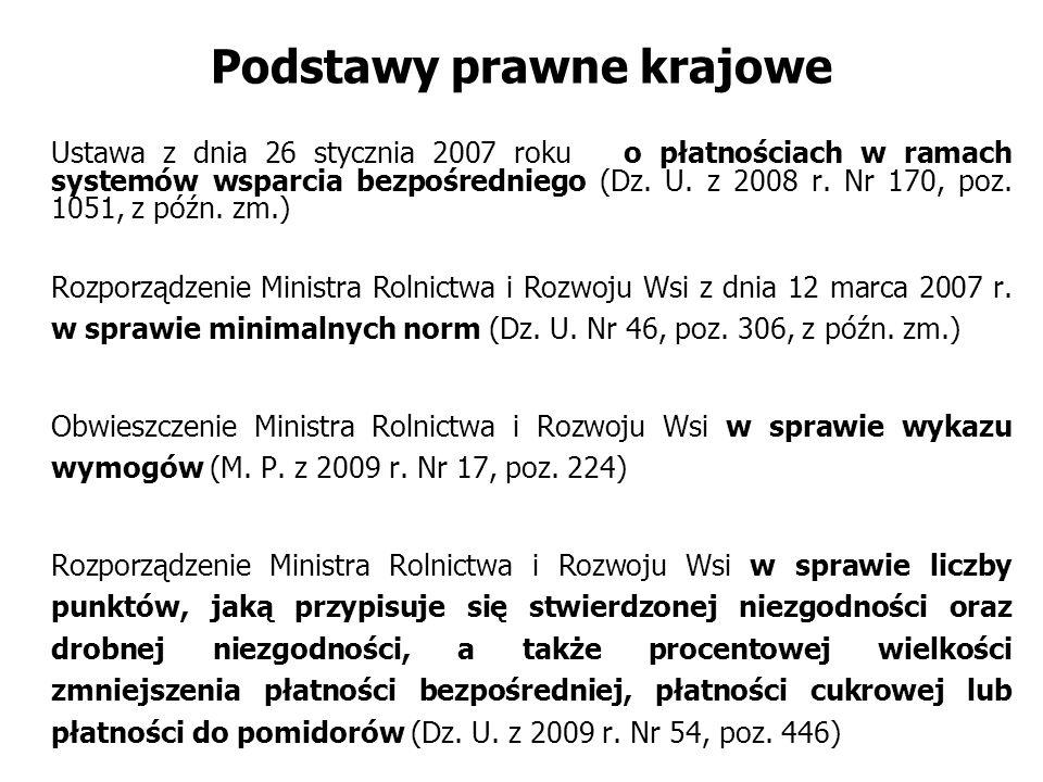 Podstawy prawne krajowe Ustawa z dnia 26 stycznia 2007 roku o płatnościach w ramach systemów wsparcia bezpośredniego (Dz. U. z 2008 r. Nr 170, poz. 10