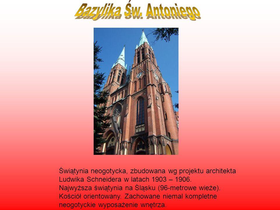 Świątynia neogotycka, zbudowana wg projektu architekta Ludwika Schneidera w latach 1903 – 1906. Najwyższa świątynia na Śląsku (96-metrowe wieże). Kośc