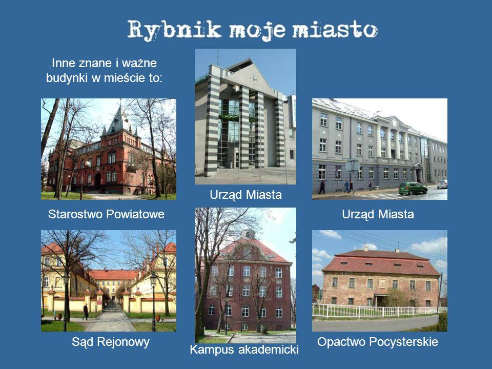 Inne znane i ważne budynki w mieście to: Starostwo Powiatowe Sąd Rejonowy Urząd Miasta Urząd Miasta Opactwo Pocysterskie Kampus akademicki
