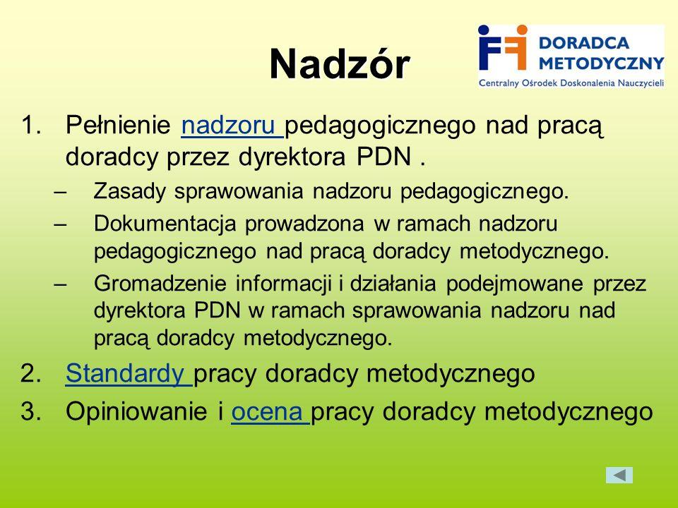 Nadzór 1.Pełnienie nadzoru pedagogicznego nad pracą doradcy przez dyrektora PDN.nadzoru –Zasady sprawowania nadzoru pedagogicznego. –Dokumentacja prow