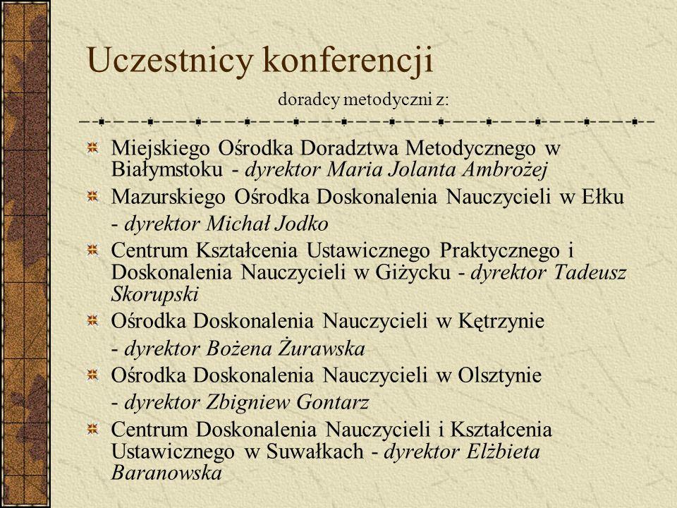 Uczestnicy konferencji doradcy metodyczni z: Miejskiego Ośrodka Doradztwa Metodycznego w Białymstoku - dyrektor Maria Jolanta Ambrożej Mazurskiego Ośr