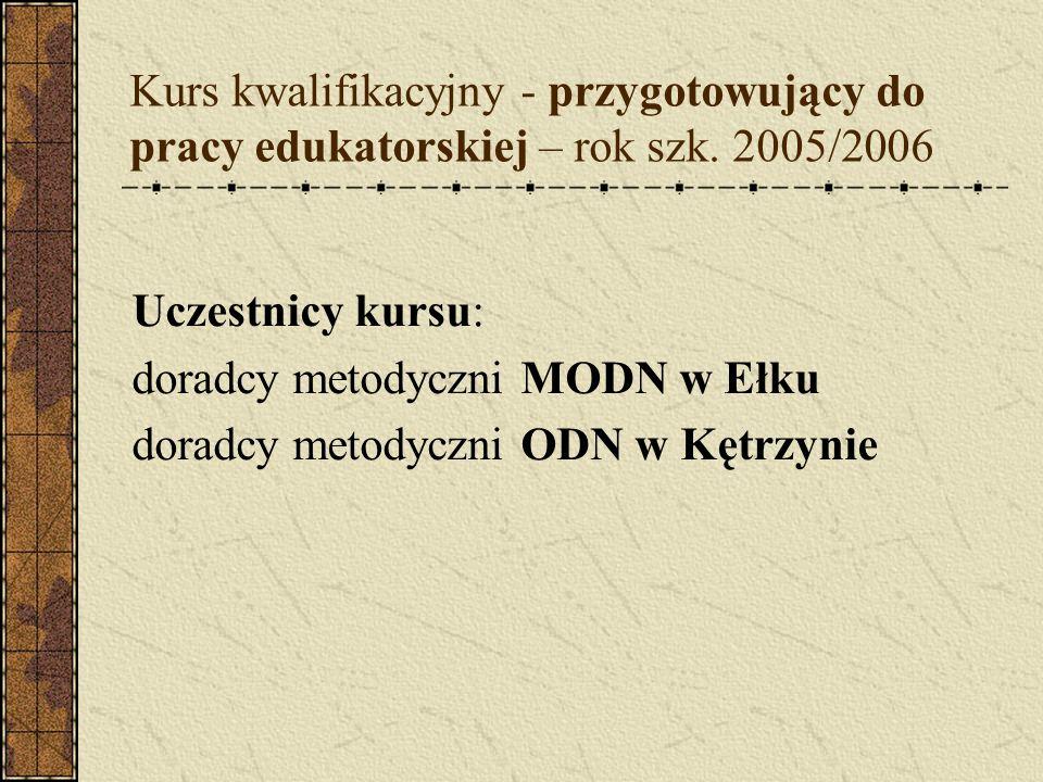 Kurs kwalifikacyjny - przygotowujący do pracy edukatorskiej – rok szk. 2005/2006 Uczestnicy kursu: doradcy metodyczni MODN w Ełku doradcy metodyczni O