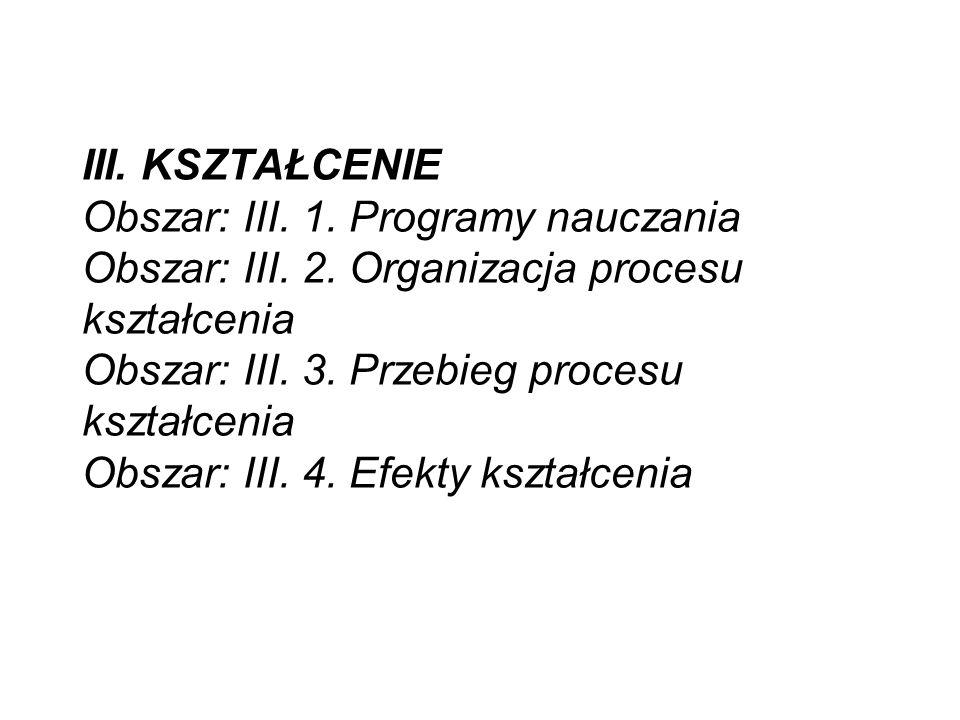 III. KSZTAŁCENIE Obszar: III. 1. Programy nauczania Obszar: III.