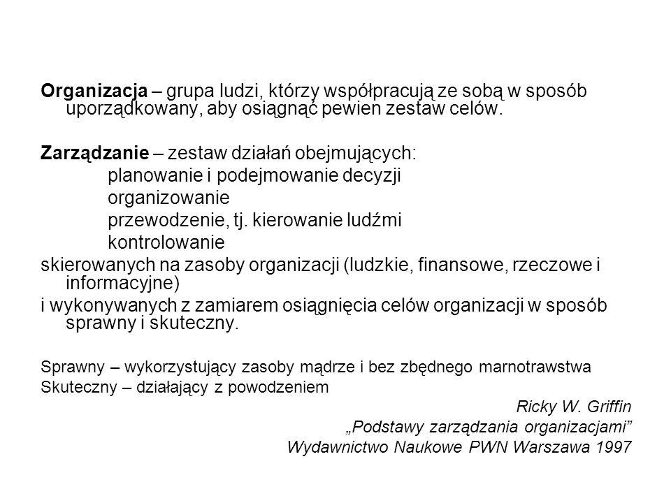 Organizacja – grupa ludzi, którzy współpracują ze sobą w sposób uporządkowany, aby osiągnąć pewien zestaw celów.
