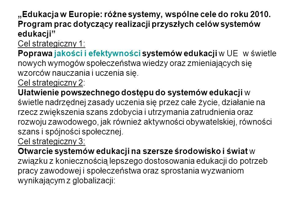 Edukacja w Europie: różne systemy, wspólne cele do roku 2010.