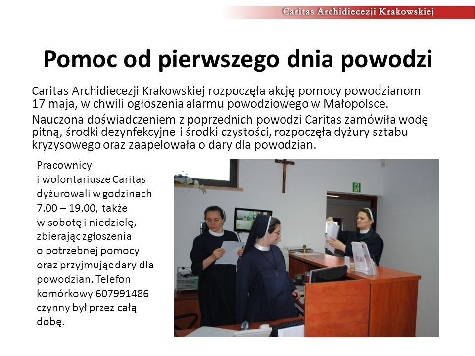Kwesty i zbiórki żywności Już w pierwszych trzech dniach indywidualni ofiarodawcy przekazali do Caritas Archidiecezji Krakowskiej blisko 6 ton żywności, 5 palet wody oraz 4 tony środków czystości.