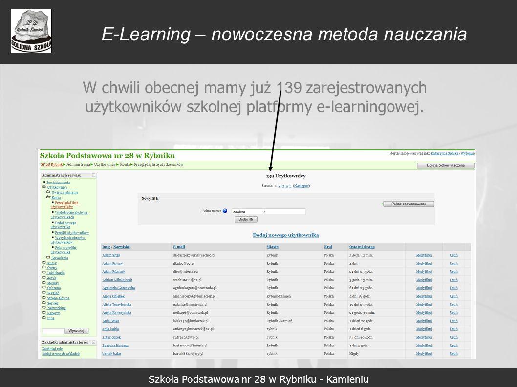 Szkoła Podstawowa nr 28 w Rybniku - Kamieniu E-Learning – nowoczesna metoda nauczania W chwili obecnej mamy już 139 zarejestrowanych użytkowników szko