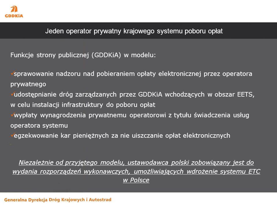 Funkcje strony publicznej (GDDKiA) w modelu: sprawowanie nadzoru nad pobieraniem opłaty elektronicznej przez operatora prywatnego udostępnianie dróg zarządzanych przez GDDKiA wchodzących w obszar EETS, w celu instalacji infrastruktury do poboru opłat wypłaty wynagrodzenia prywatnemu operatorowi z tytułu świadczenia usług operatora systemu egzekwowanie kar pieniężnych za nie uiszczanie opłat elektronicznych Niezależnie od przyjętego modelu, ustawodawca polski zobowiązany jest do wydania rozporządzeń wykonawczych, umożliwiających wdrożenie systemu ETC w Polsce