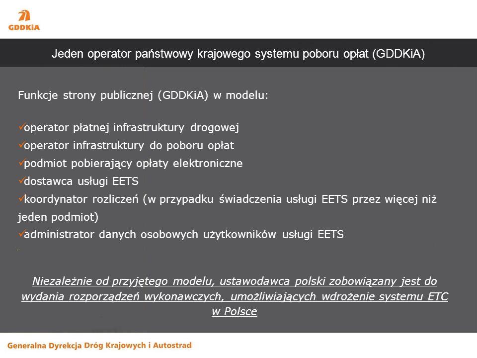Funkcje strony publicznej (GDDKiA) w modelu: operator płatnej infrastruktury drogowej operator infrastruktury do poboru opłat podmiot pobierający opłaty elektroniczne dostawca usługi EETS koordynator rozliczeń (w przypadku świadczenia usługi EETS przez więcej niż jeden podmiot) administrator danych osobowych użytkowników usługi EETS Niezależnie od przyjętego modelu, ustawodawca polski zobowiązany jest do wydania rozporządzeń wykonawczych, umożliwiających wdrożenie systemu ETC w Polsce Jeden operator państwowy krajowego systemu poboru opłat (GDDKiA)